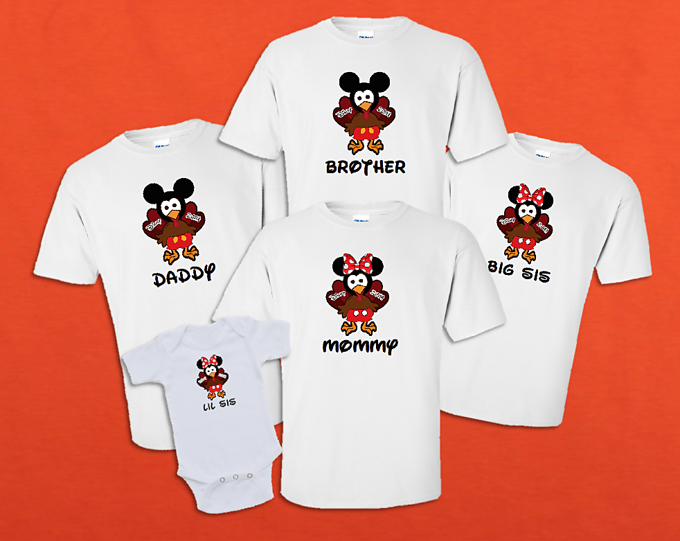 disney family thanksgiving turkey mickey and minnie. Black Bedroom Furniture Sets. Home Design Ideas