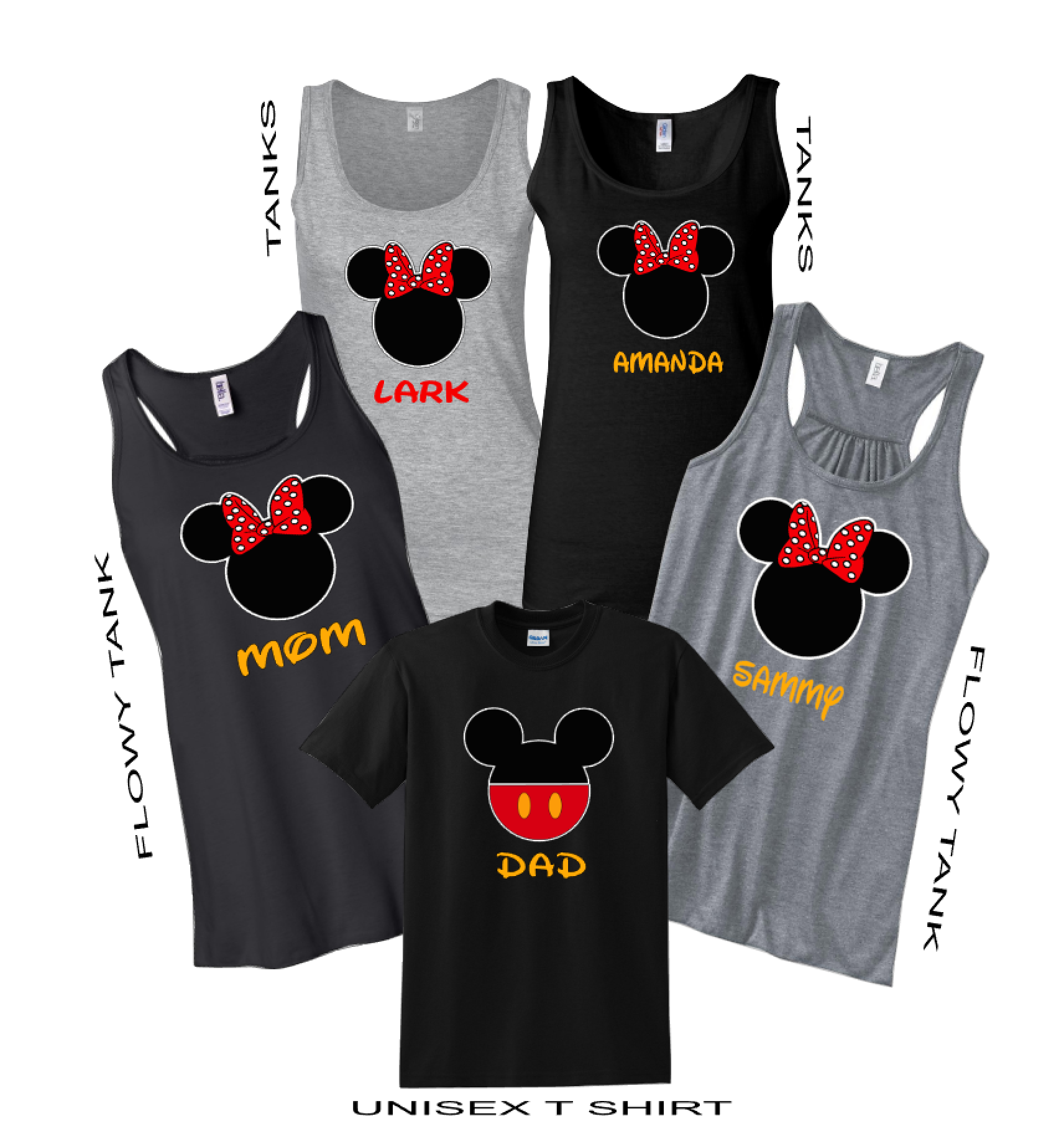 Disney Family Minnie Mouse Flowy Tops And Tank Top Black Gray