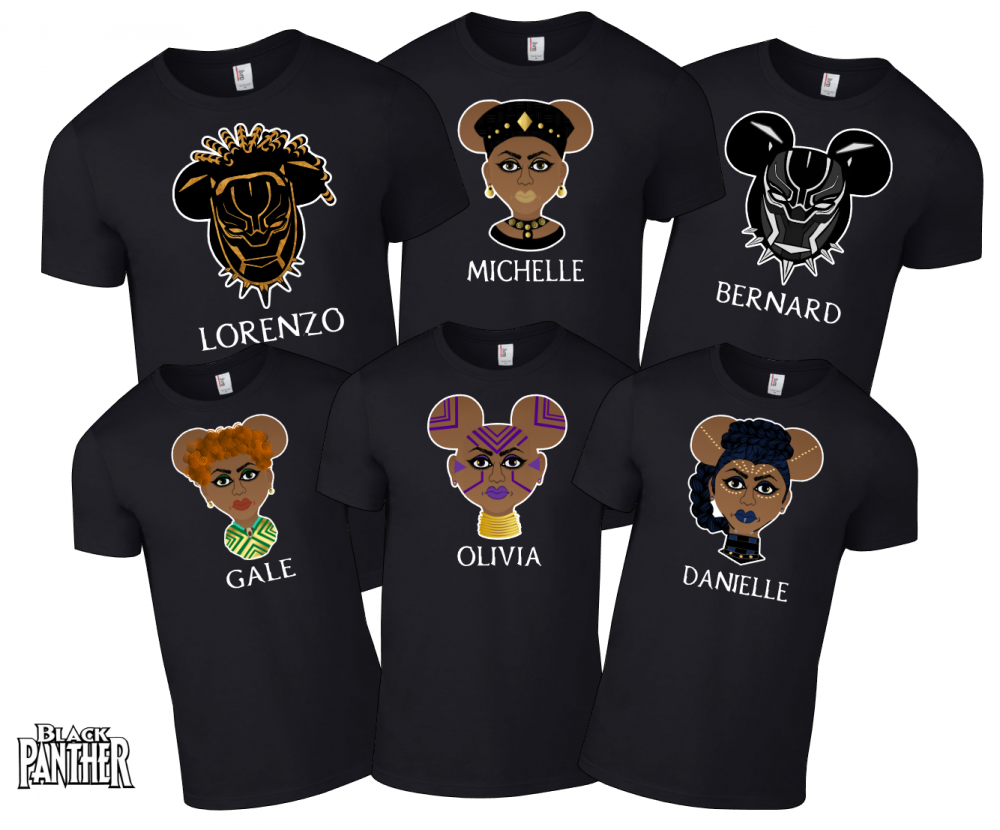 Disney black panther super hero family mickey mouse shirts for Oversized disney t shirts