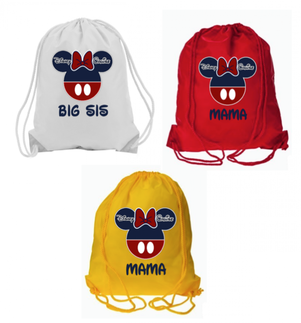 Disney personalized drawstring bags the official site of for Personalized t shirt bags