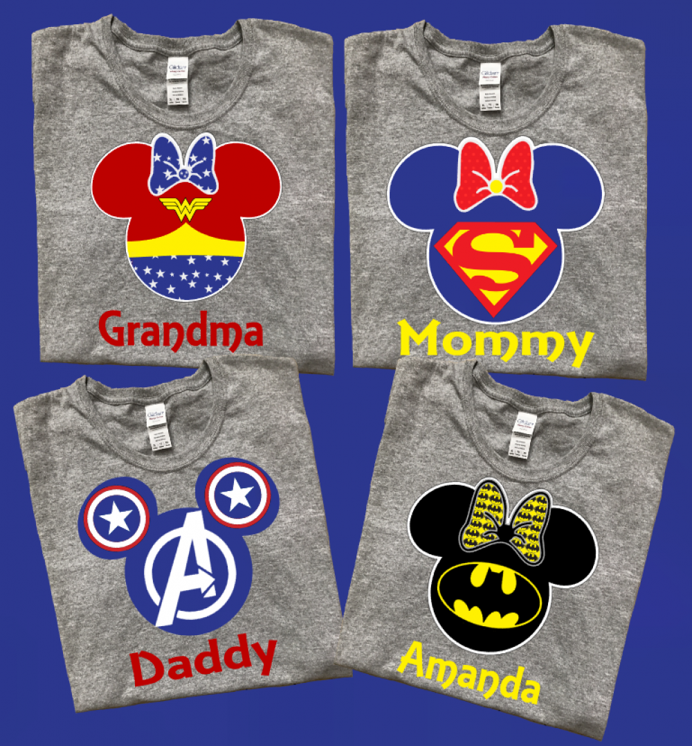 Disney Mickey And Minnie Super Heros Family T Shirts With
