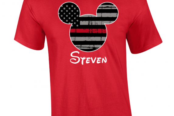 Disney Family Thin Red Line  USA Flag T-Shirts - Black / Red