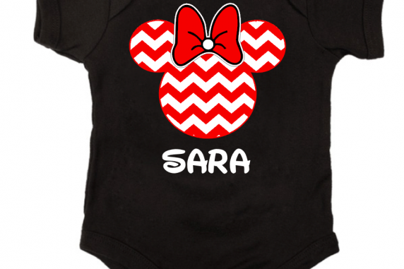 Red Chevron Mickey and Minnie Family Vacation T-Shirts
