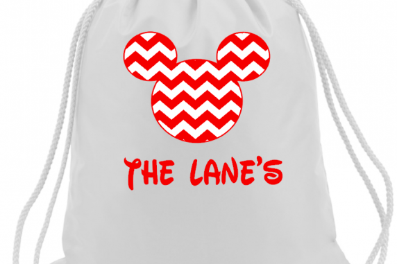 Mickey and Minnie Chevron Drawstring Bags