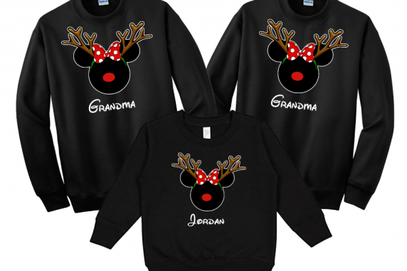 Disney Christmas Reindeer Mickey and Minnie Mouse Family Vacation Sweatshirt