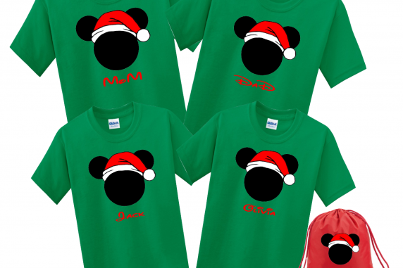 Disney Family Santa Hat Head Custom T Shirts Kelly Green