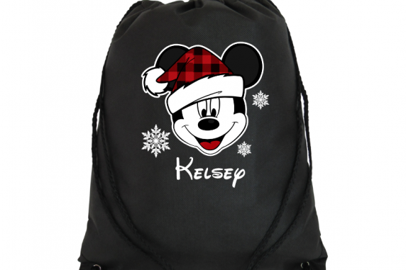 Disney Personalized Christmas Plaid hat Mickey and Minnie Drawstring Bags (Choos