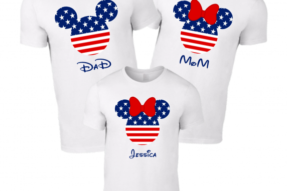 Disney Mickey Independence Day American Flag Family T-Shirt