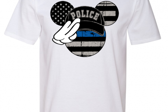 Disney Salute Thin Blue Line Family Minnie Mouse Flowy Tops and Tank Top Black/G