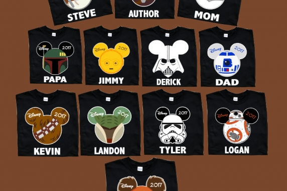 Disney Mickey and Minnie STAR WAR Family T-Shirts With White trim