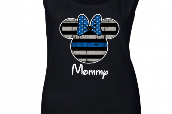 Disney Thin Blue Line Family Minnie Mouse Flowy Tops and Tank Top Black/Gray