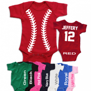 Baseball Onesie Personalized with Name and Number