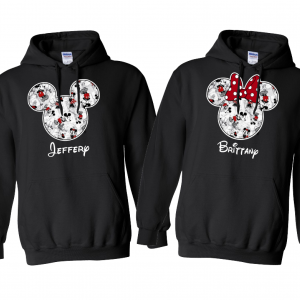 Disney Black and White Sketch Mickey and Minnie Mouse Family Vacation Hoodie