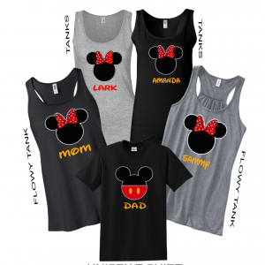 Disney Family Minnie Mouse Flowy Tops and Tank Top Black/Gray