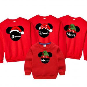 Disney Christmas Santa and Elf Mickey and Minnie Mouse Family Vacation Sweatshir