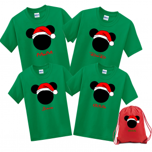 Disney Family Santa Hat Head Custom T-Shirts - Kelly Green