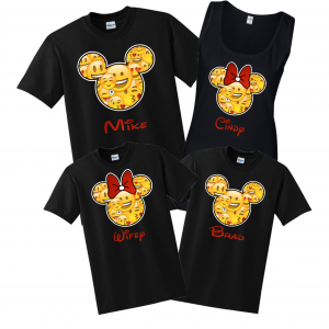 Disney Family Emoji FACE T-Shirts - Black