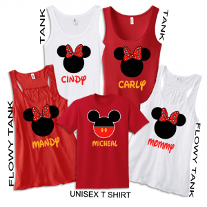 Disney Family Minnie Mouse Flowy Tops and Tank Top
