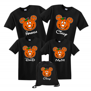 disney family halloween pumpkin head custom t shirts black
