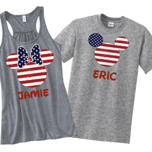 American Flag Disney Family Mickey Mouse and Minnie Mouse Flowy Tops Tank Tops T