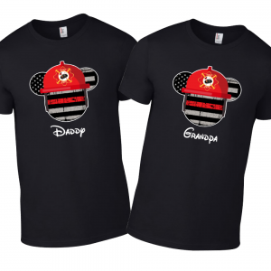Disney Mickey Superhero Family Firefighter Thin Red Line  USA Flag T-Shirts - Bl