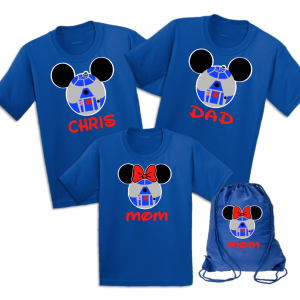 Disney Mickey and Minnie R2D2 Family T-Shirts With White trim