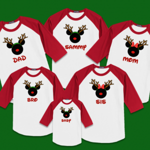 Disney Christmas Reindeer Family Vacation Raglan T-Shirts