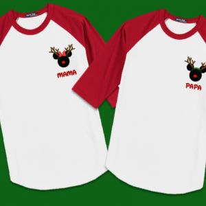 Disney Christmas Reindeer Small Logo Family Vacation Raglan T-Shirts