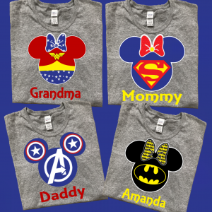 Disney Mickey and Minnie Super Heros Family T-Shirts With White trim
