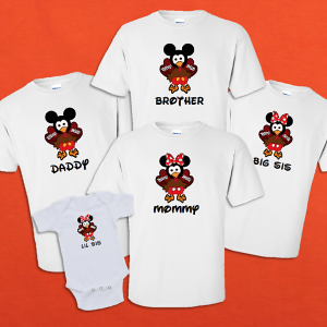 Disney Family Thanksgiving Turkey Mickey and Minnie Vacation T-Shirts