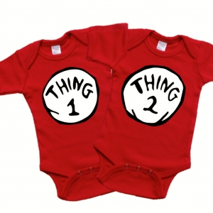 Thing 1 and Thing 2 Twin Onesie