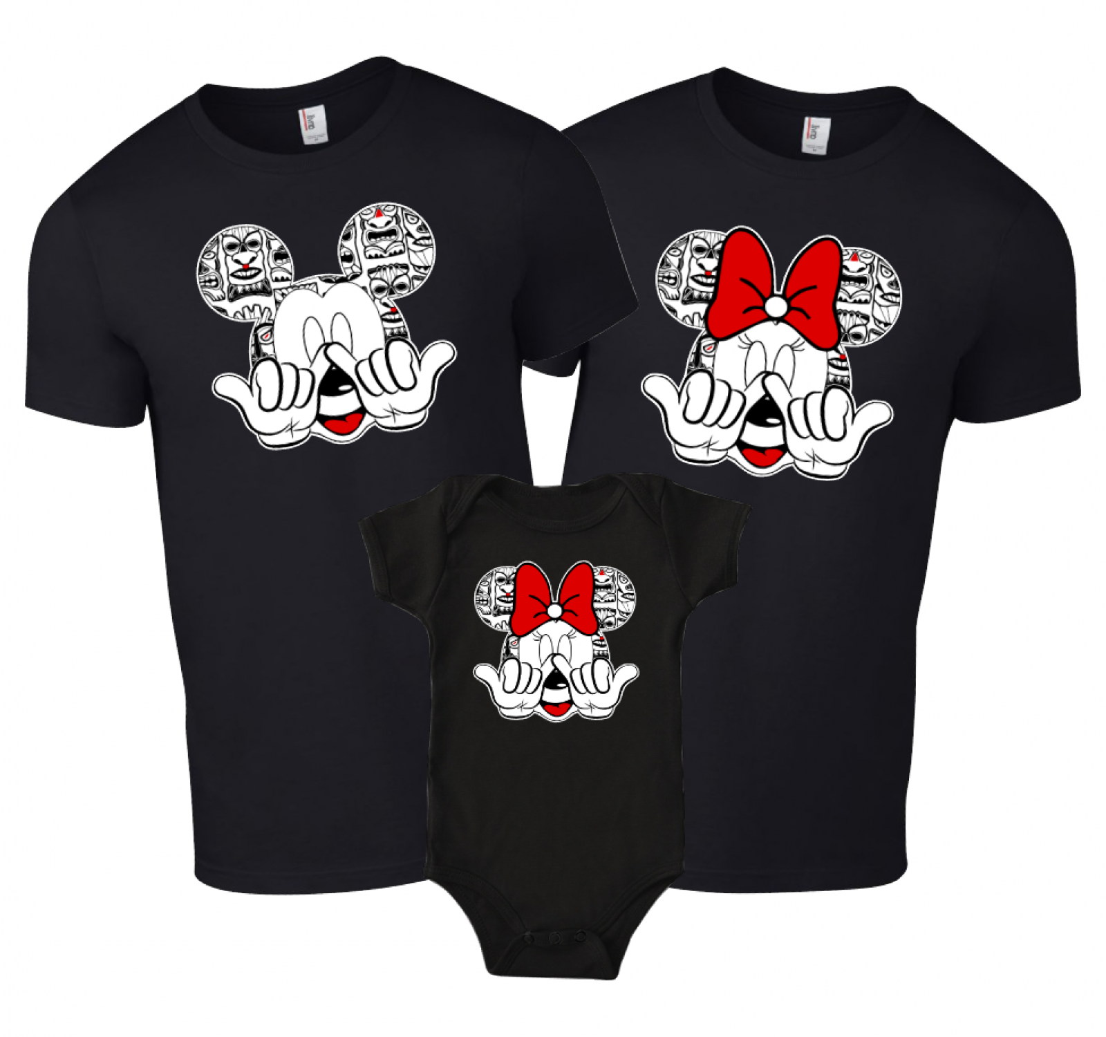 b56aed260c Disney Aulani Hawaii Tiki Family Mickey Mouse and Minnie Mouse T-Shirt
