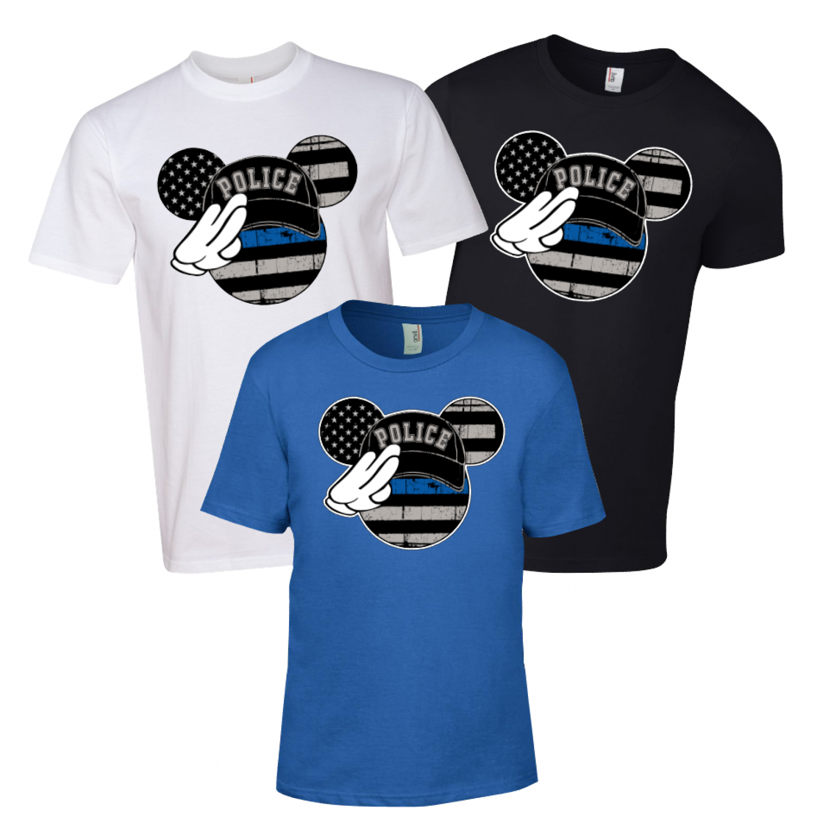 3b5191c74c353e Disney Salute Thin Blue Line Family Minnie Mouse Flowy Tops and Tank Top  Black G ...