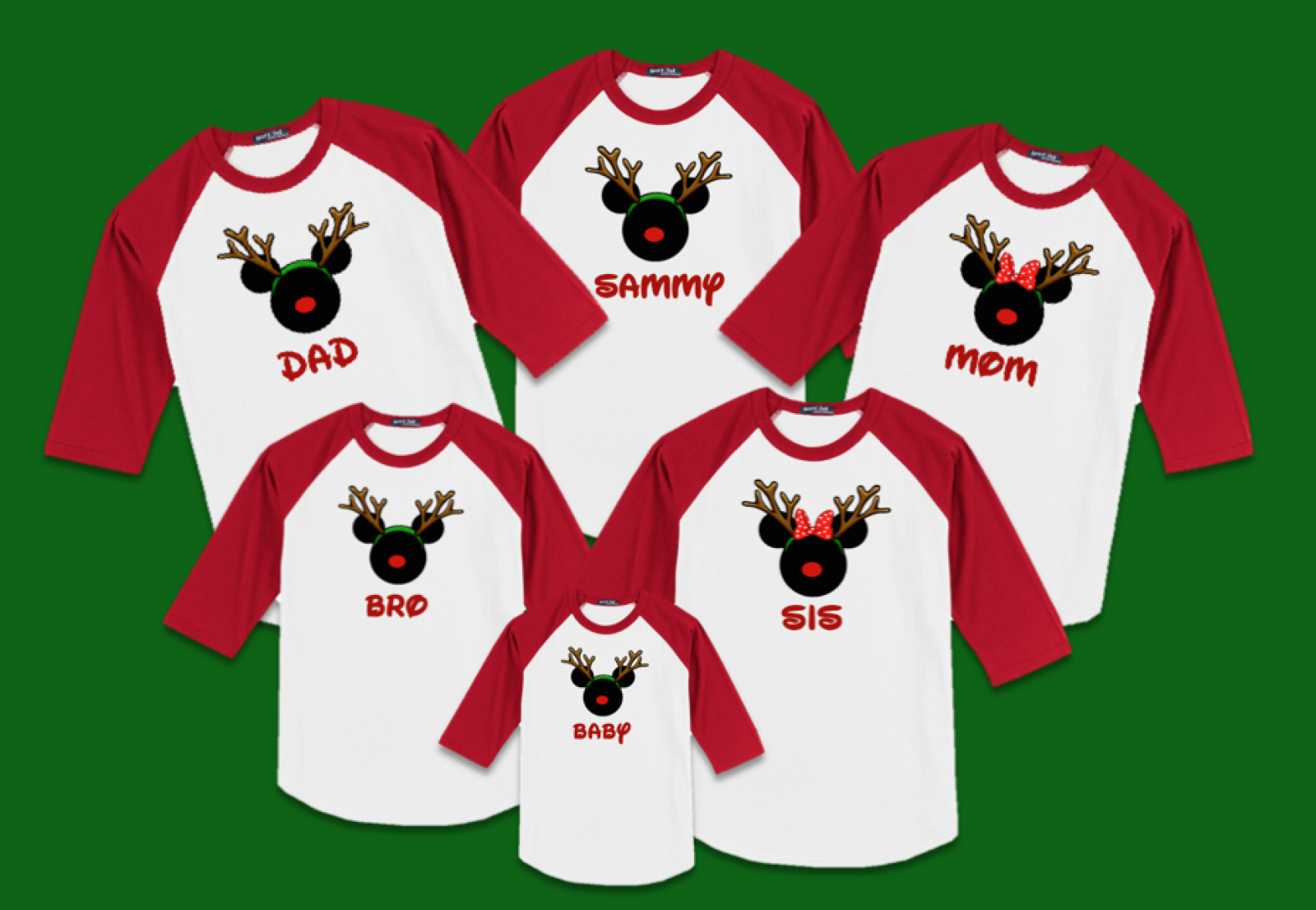 8ea78ac0db834 Disney Christmas Rudolph Reindeer Family Vacation Raglan T-Shirts