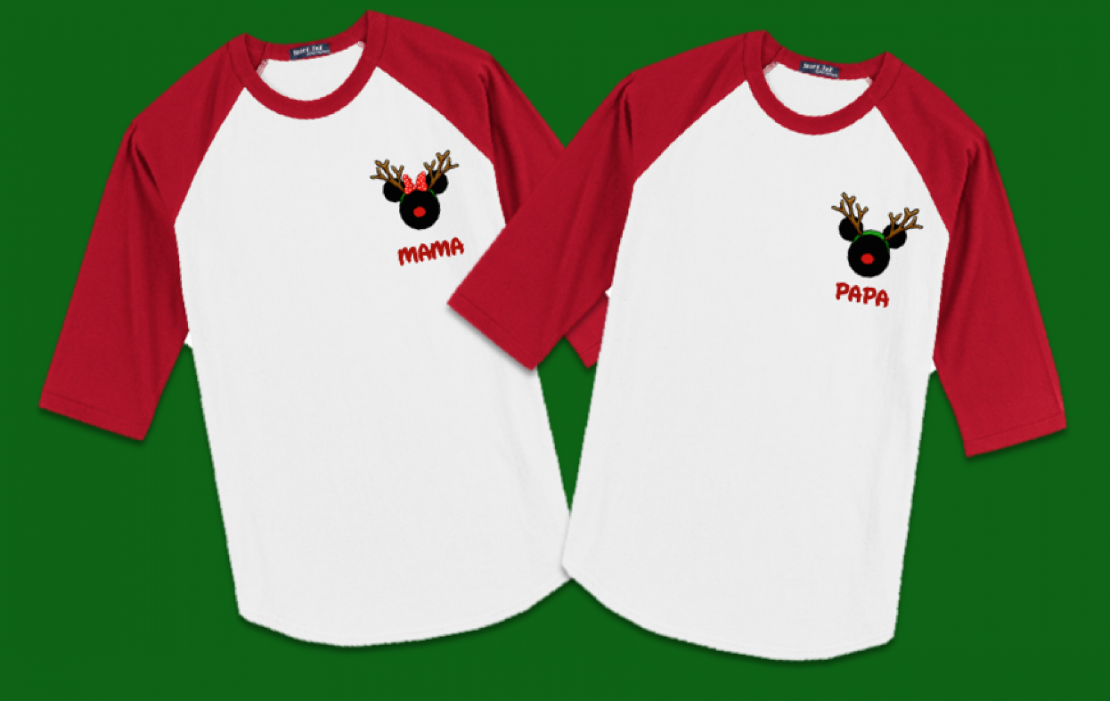 Disney Christmas Reindeer Logo Family Vacation Raglan T Shirts