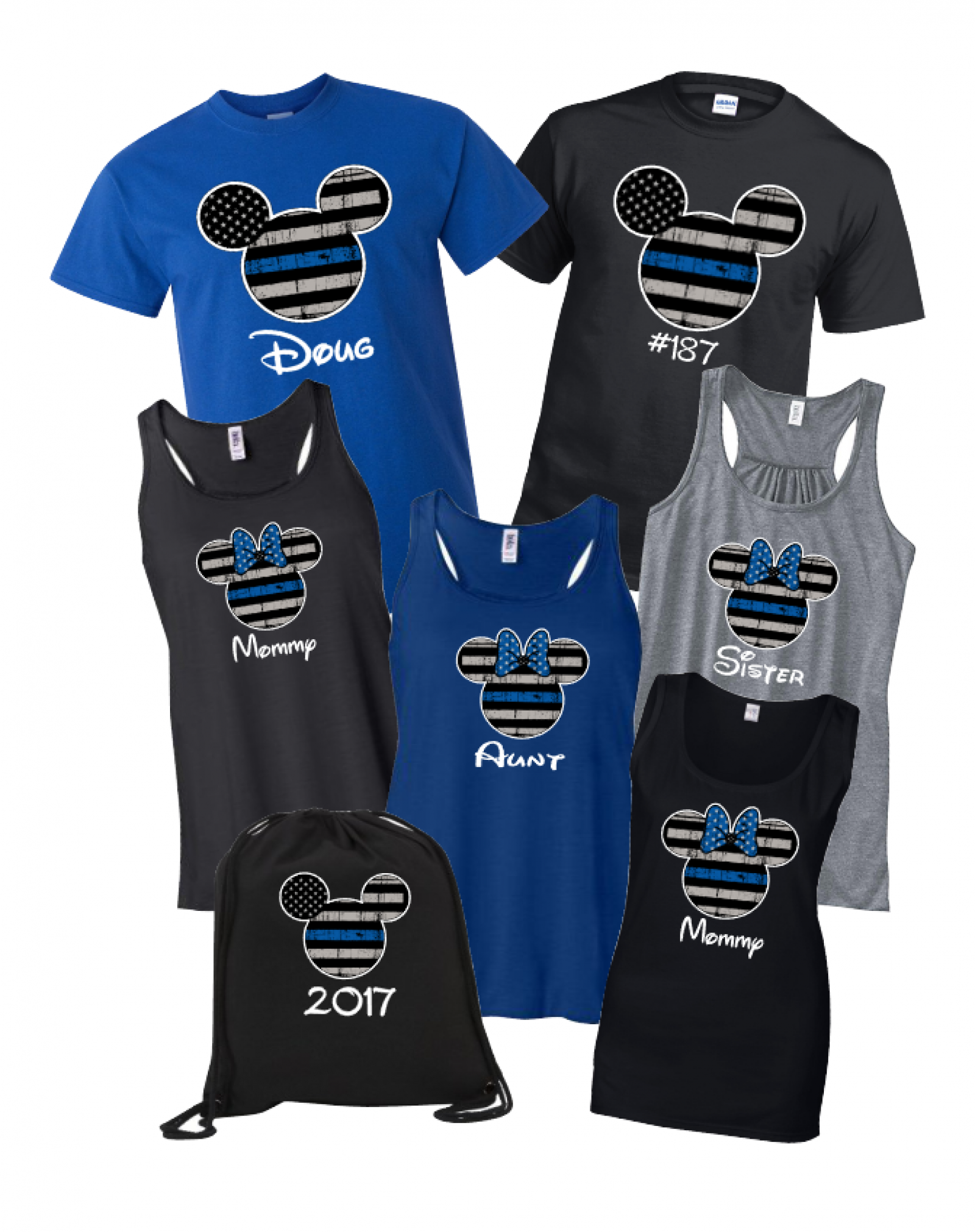 Disney Thin Blue Line Family Minnie Mouse Flowy Tops and Tank Top  Black Gray ... ccf8d6c429d