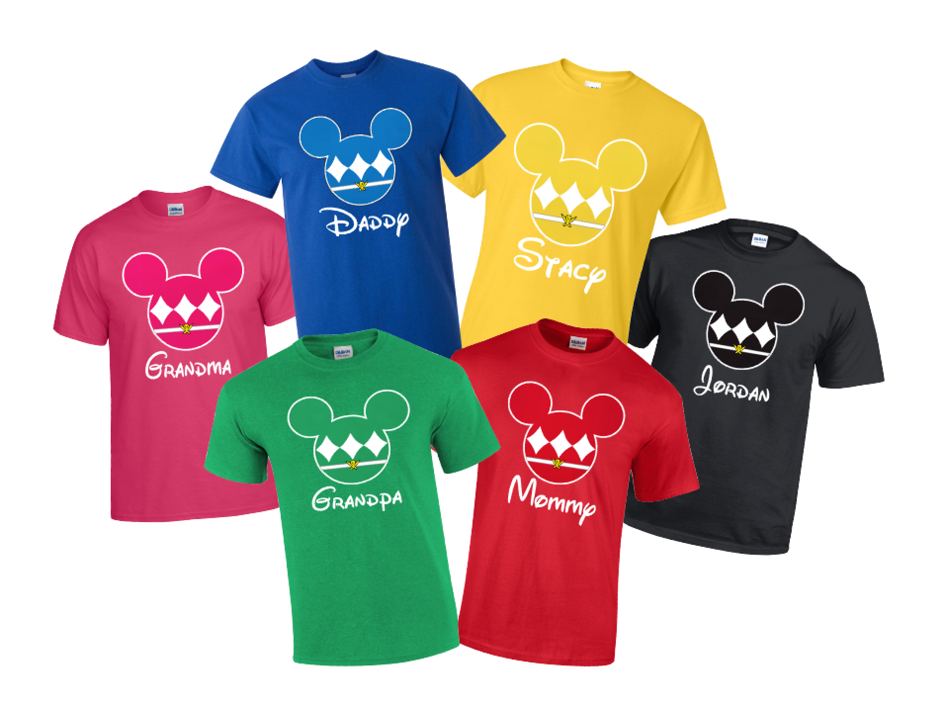 disney mickey power ranger family t shirts super hero the official site of logan to layla. Black Bedroom Furniture Sets. Home Design Ideas