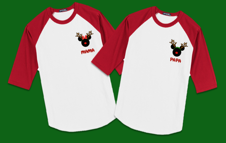 2c5ba81d29a06 Disney Christmas Reindeer Logo Family Vacation Raglan T-Shirts